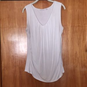 White tank top with ruching on sides